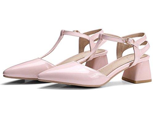YCMDM Women High Heels Summer nouvelles sandales en cuir verni pointues chaussures de grande taille Pink