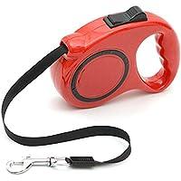 Retractable del perro o del gato / Correa. Para pequeñas, medianas o grandes perros de hasta 20K. 3 metros. Resorte automático. (Rojo)