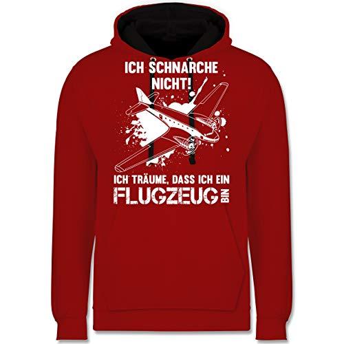 Shirtracer Sprüche - Ich schnarche Nicht ich Bin EIN Flugzeug - XL - Rot/Schwarz - JH003 - Kontrast Hoodie