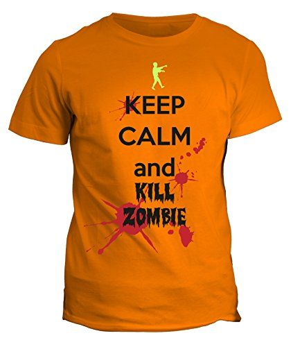 Tshirt keep calm and kill the zombie - walking dead humor - in cotone by Fashwork Arancione