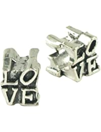 Stone River Sterling Silver Plated Love Charm Bead (Fits Pandora, Chamilia, Biagi, Troll Standard Size Bracelet)