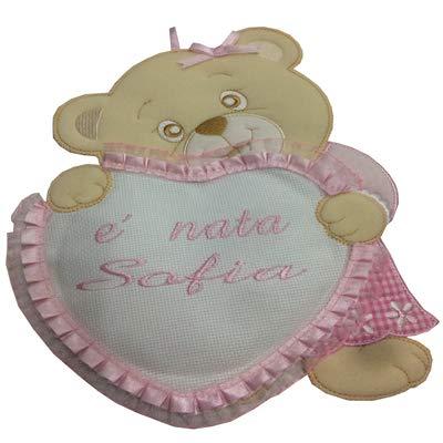 Fiocco nascita/coccarda orsetto con cuore con aida ricamabile a punto croce rosa lavorato del tutto a mano