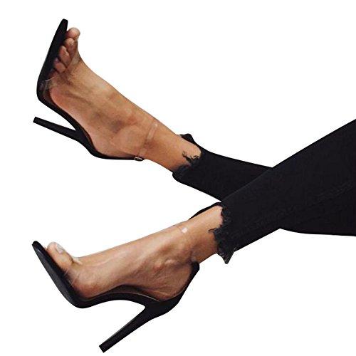 Juleya High Heels Sandaletten Damen Stiletto Schuhe, 11.5cm Frauen Römersandalen, Transparente Peep Toe Sandalen, Knöchel Schnalle Party Freizeit Hochzeit Abend Sommer Strand Schuhe Schwarz 35-43
