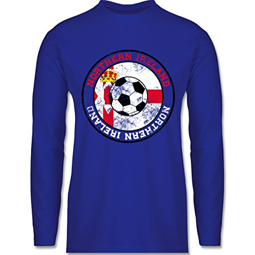 EM 2016 - Frankreich - Northern Ireland Kreis & Fußball Vintage - Longsleeve / langärmeliges T-Shirt für Herren Royalblau