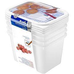 Rotho 6116710120 Gefrierdose Domino - Aromafeste Aufbewahrungsbox mit beschreibbarem Deckel - 4er Set Vorratsdose BPA-frei - Reinigung der Gefrierdose in der Spülmaschine - 1 l Inhalt pro Gefrierbox - weiss