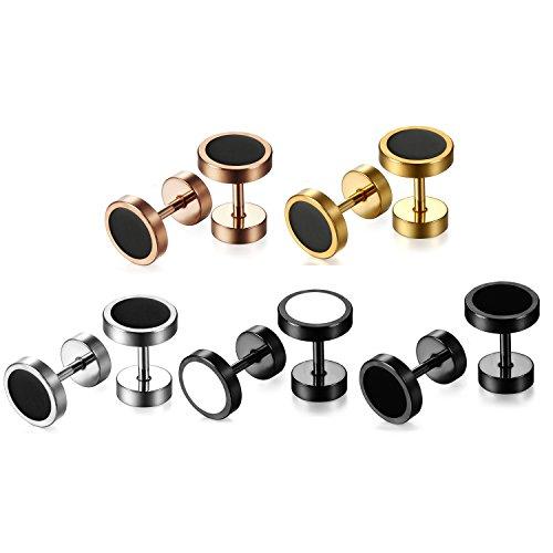 JewelryWe Schmuck 5 Paare Herren Ohrringe, 8mm Edelstahl Fake Plug Ohrclips Emaille Lünette runde coole Ohrstecker Tunnel Piercing für Männer, 5 verschiedene Modellen