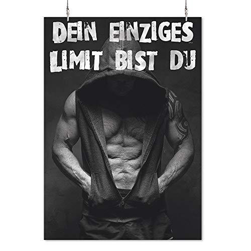 HAPPY FREAKS Poster 'Limit Mann' DIN A2 - Sport-Wandbild Motivation - Plakat ohne Rahmen - Bilder und Dekoration - Motivations-poster