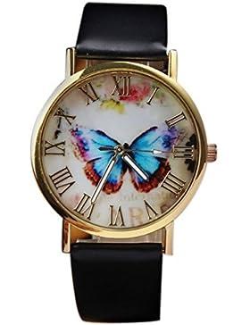 Sannysis Damenmode Butterfly Style-Leder-Band-Analog-Quarz-Armbanduhr