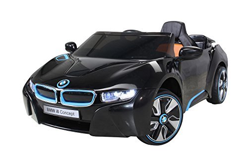 Actionbikes Motors Kinder Elektroauto Lizenzierter Original BMW I8 mit 2 x 45 Watt Motor Elektro Kinderauto Kinderfahrzeug (Schwarz)