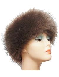 Bandeau en fourrure de renard tricoté sur maille élastique chaud et doux choix des couleurs