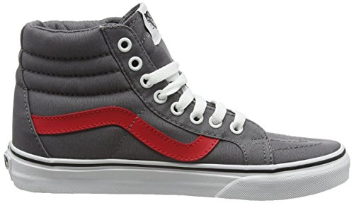 Vans Sk8-Hi Reissue, Sneakers Hautes Mixte Adulte Gris (Canvas tornado/racing red)