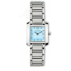 Reloj Mondia Lady SWISSE Made Esfera nácar azul diamantes acero regalo boda 9–350–4RD