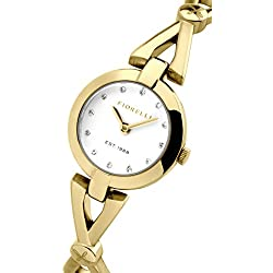 Fiorelli Women's Quartz Watch with White Dial Analogue Display and Gold Plated Bracelet FO003GM