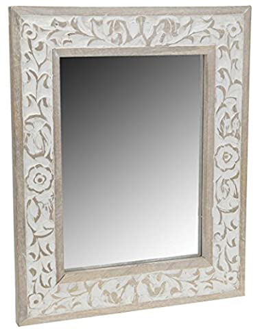 Wood Wall Mirror with Etched Leaf Design In The Timber 50cm x 40cm Wooden Frame (White Wash)