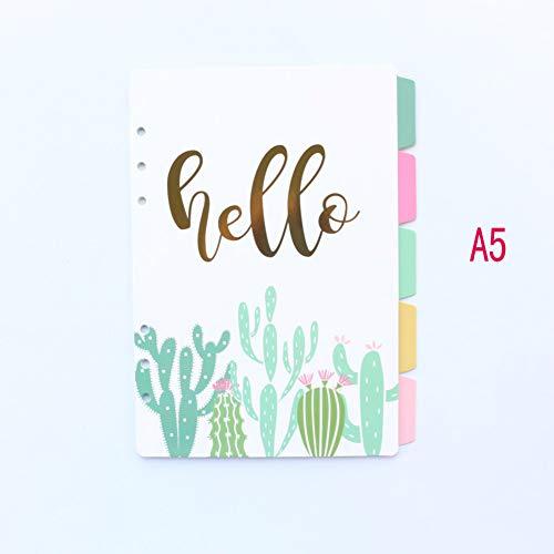YPGFL Notizbuch Süßer 6-Ringe-Indexteiler Aus Papier Für Mappenplaner Notizbuch Schreibwaren Süßigkeiten Notizbuch-Papierteiler Zubehör A5 A6, A5 Kaktus