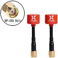 2pcs Foco Lollipop Antena FPV 5.8G 2.3dBi RHCP Super Mini TX RX Antena RP-SMA Macho para RC FPV Drone (Rojo)