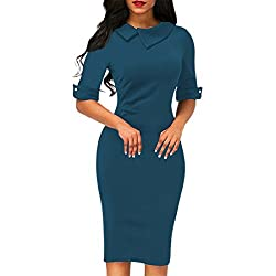 Bodycon Office Dress For Women,Moonuy Ladies Girl Retro Below Knee Formal Dress With Back Zipper Spring Autumn Winter Pencil Fashion Casual Daily Half Sleeve Slim Turn-down Collar Skirt