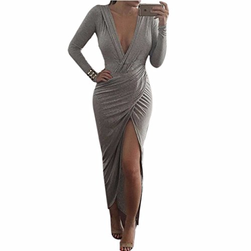 QIYUN.Z Tiefem V-Ausschnitt Grau Bodycon Frauen Langarm Hoch Split Cocktail Kleid Grau