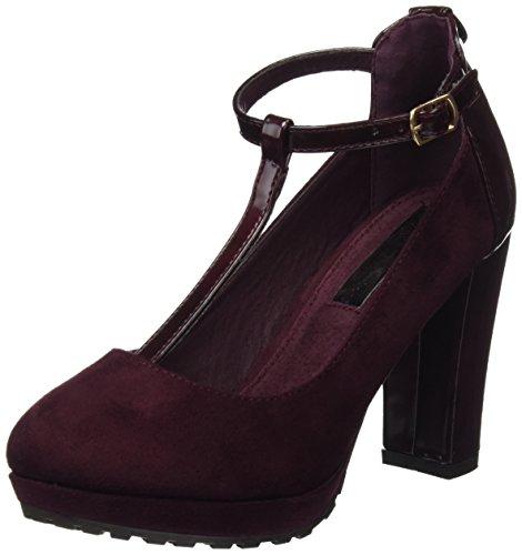 XTI 030479, Zapatos con Correa de Tobillo para Mujer, Rojo (Burdeos), 38 EU