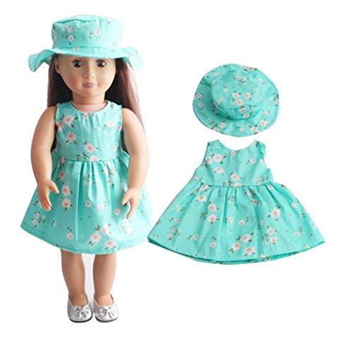 Kleid für 18 Zoll American Girl, AmaMary Schöne Blume Printed Puppenkleider Kleid mit Hut für 18 American Girl Generation Doll (E)