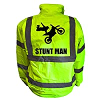 Stuntman Kids Hi Vis Yellow Bomber Jacket, Reflective High Visibility Safety Childs Coat, By Brook Hi Vis