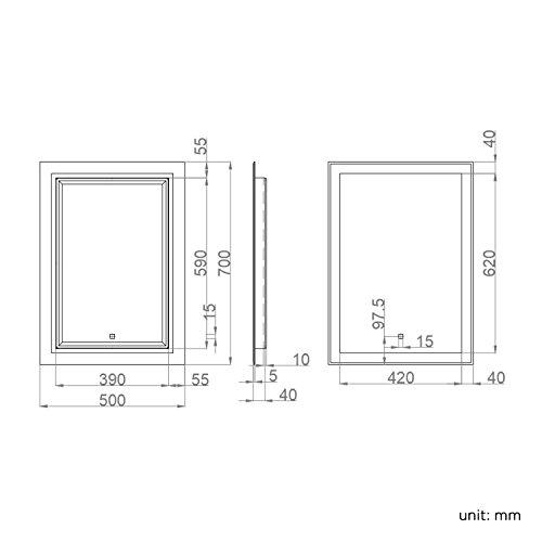 500 x 700 mm illuminated led bathroom mirror vanity light for Mirror 500 x 700