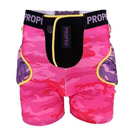 Baoblaze Herren Damen Skifahren Hose Schutzhosen Gepolsterte Protektorhosen Snowboard Shorts - Magenta S