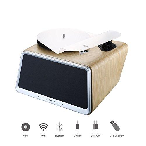 HYM 5-in-1 Smart Stereo-Audio-Vinyl-Plattenspieler mit Full Range HiFi-Lautsprecher, Vinyl-Plattenspieler Bluetooth-AUX-in-USB-Anschluss, mit Fernbedienung und Touch-Schaltern