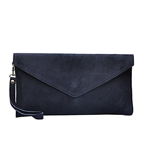 New Womens Genuine Italian Suede Leather Clutch Party Wedding Envelope