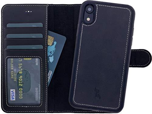 Burkley Handyhülle für iPhone XR Hülle mit Abnehmbarer Schutz-Hülle kompatibel mit Apple iPhone XR Leder-Hülle Cover Case mit RFID Schutz (Antik Schwarz)
