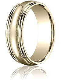 14ct Yellow Gold, 7.5mm Comfort Polished Milgrain Double Edge Band (sz H to Z5)
