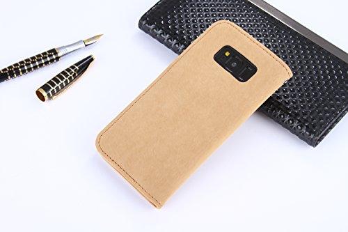 POEGO Handy Hülle Cover Case Schutzhülle Schutz Hülle mit Kartenfach Magnetverschluss Standfunktion (iPhone 7, Weiß) Beige