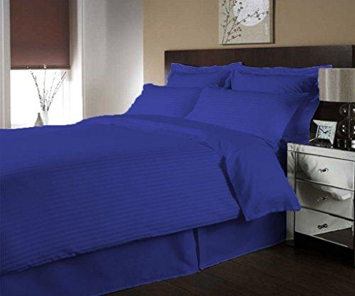 scalabedding Ägyptische Baumwolle Fadenzahl 400Luxuriöse Streifen Bettbezug und passende Kissenbezüge Set Queen 400Fadenzahl Ägyptische blau -