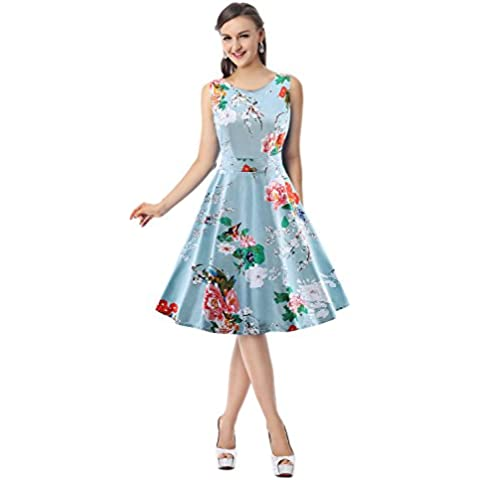 Kimring Women's 1950's Vintage Floral Print Casual Cocktail Party Swing