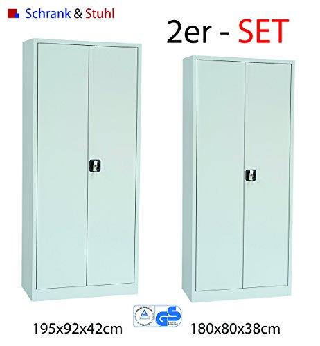 Preisvergleich Produktbild Stahlschrank Set 195x92x42cm + 180x80x38cm (HxBxT) GRAU