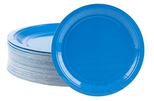 Einwegteller, 80 Stück, Pappteller, Partyzubehör für Vorspeisen, Mittagessen, Abendessen und Dessert, Blau, 22,9 x 22,9 cm Blau, Dessert