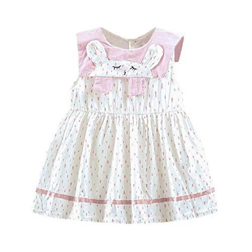 KIMODO Baby Mädchen Kleid Punkt gedruckte Karikatur-Häschen Drucken Strandkleid Kleinkind Urlaub Sommer Prinzessin Kleidung Outfit (Cocktail Häschen Kostüm)