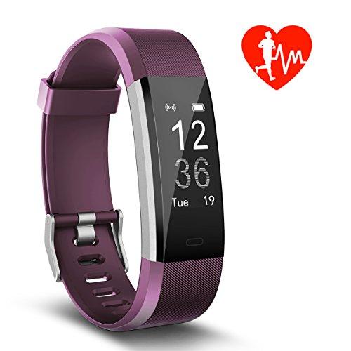 Foto de Pulsera de Actividad, Monitor de Frecuencia Cardíaca & IP67 a Prueba de agua Fitness Tracker Reloj Inteligente de Teléfonos con Android iOS, Regalos para Niños Hombre Mujere de Kungber (Púrpura)