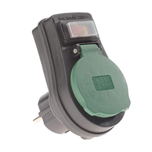 REV ADAPTER mit Schalter ǀ Zwischensteckdose spritzwassergeschützt IP44 mit ON/OFF Schalter ǀ mit Kindersicherung ǀ Farbe: schwarz-grün