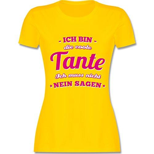 Shirtracer Schwester & Tante - Ich Bin Die Coole Tante - Damen T-Shirt Rundhals Gelb