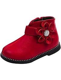 Botas Niña Invierno K-youth Botines de Flores con Cremallera Caliente Zapatos Martin Botines Boots Zapatos Niña Fiesta Bautizo Zapatillas de Deporte Antideslizantes para Niños