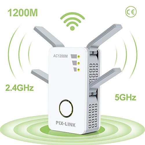 Amplificateur WiFi, AC1200 Mbps Répéteur WiFi Double Bande 5G et 2.4G WiFi Extender Avoir AP/Répéteur/Routeur/Client Mode et WPS Fonction, Compatible avec Toutes Les Box Internet