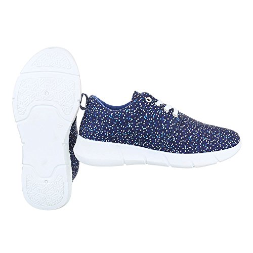 Sportschuhe Damenschuhe Geschlossen Sneakers Schnürsenkel Ital-Design Freizeitschuhe Blau Multi