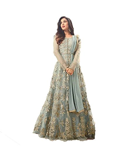 Astounding Grey Colored Heavy Embroidered Worked Anarkali Suit Salwar Suit for Marriage...