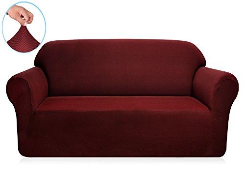 Subrtex 2-Sitzer Sofabezug Sofahusse Stretchhusse Sofaüberwurf Couchhusse Spannbezug (2-Sitzer Sofa, Dunkelrot)
