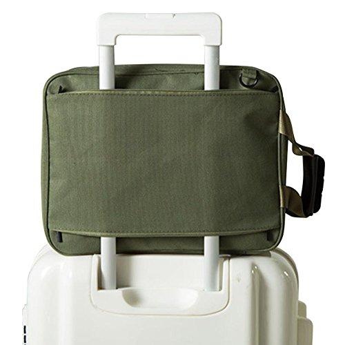 Fyore Leichte Reisetasche Faltbar Handtasche für Herren Schultertasche mit Leder Griff am Koffer befestigen 36*27*14cm (Armeegrün)