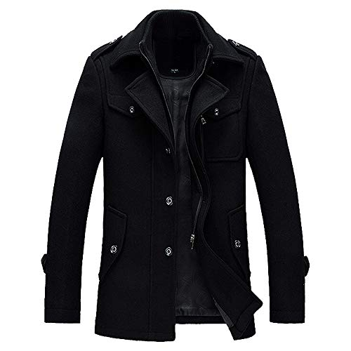 Roiper Homme Hiver Manteau Trench-Coat Chaud Slim fit Casual Veste Long en Laine Caban Mode Classique No