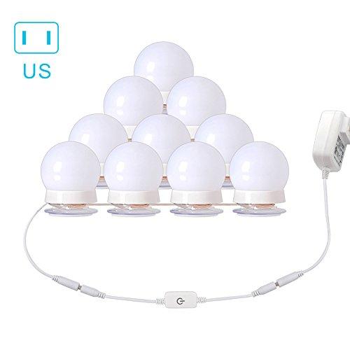 ZREAL LED-Kosmetikspiegel mit Schnur mit 10 Leuchten, dimmbar, für Make-up, Badezimmer, US Plug