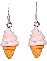 Creativo perle e orecchini bambina, con cono gelato fragola, colore: rosa