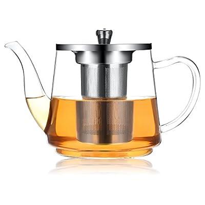Théière 1200ml / 41oz, Théière en verre résistant à la chaleur avec infuseur amovible, Pots à thé en vrac, Micro-ondes et coffre-fort